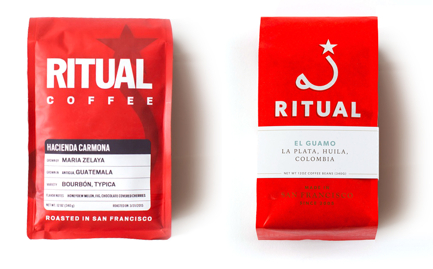 Good Stuff Partners, a   San Francisco Branding Agency  wins award of excellence for Ritual Coffee packaging redesign.  Here are the before and after shots of the packaging.