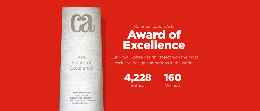 Communication Arts 2016 Award of Excellence Ritual Coffee Packaging Good Stuff Partners
