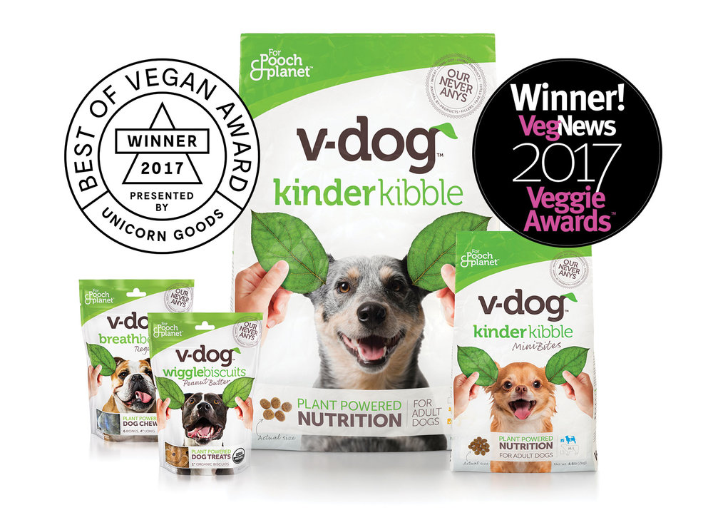 San Francisco based design agency Good Stuff Partners V-dog Veggie Award Winner 2017 Unicorn Goods for Best Dog Food.