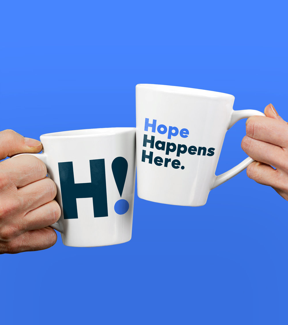 Tagline and messaging developed for coffee mugs and swag for Vibrant Emotional Health rebranding by San Francisco Northern California brand strategy agency called Good Stuff Partners.