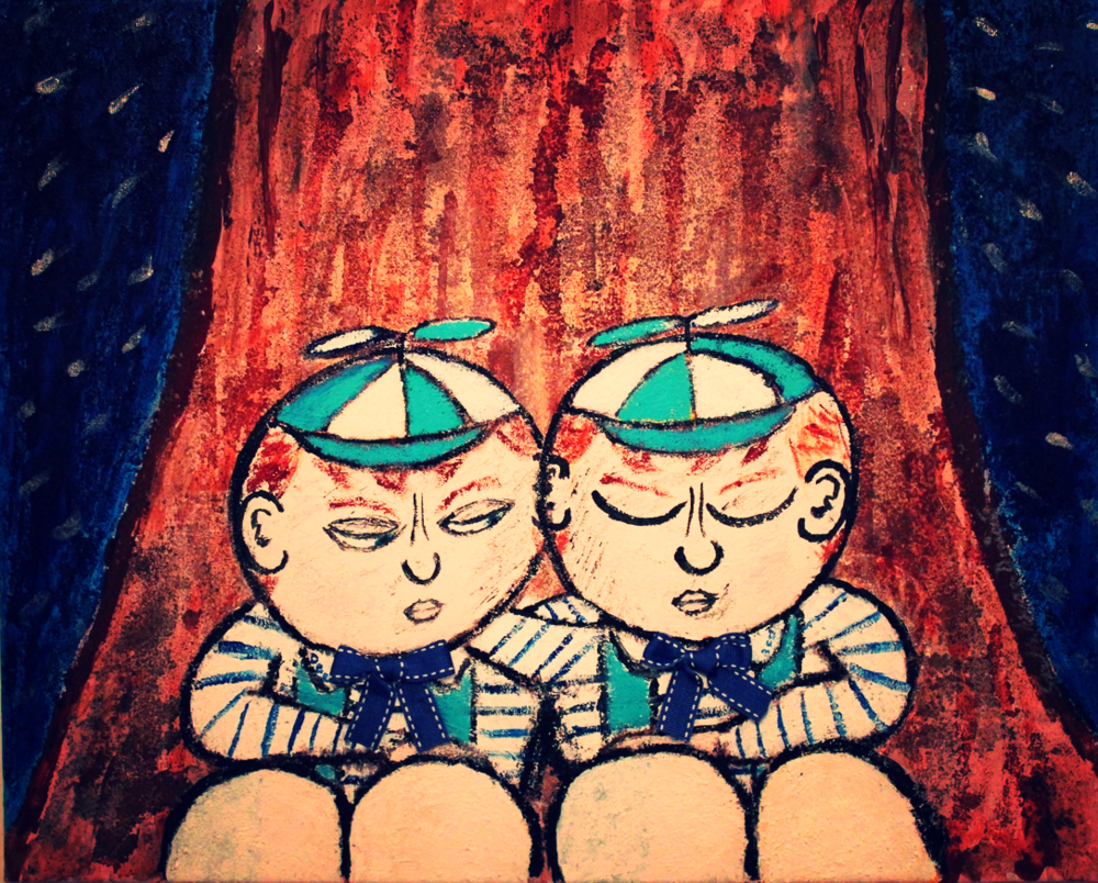 """Brothers' Keepers"" - The Brothers Tweedle by Stylés Akira            (Acrylic, Sand, and Ribbon on Canvas)"