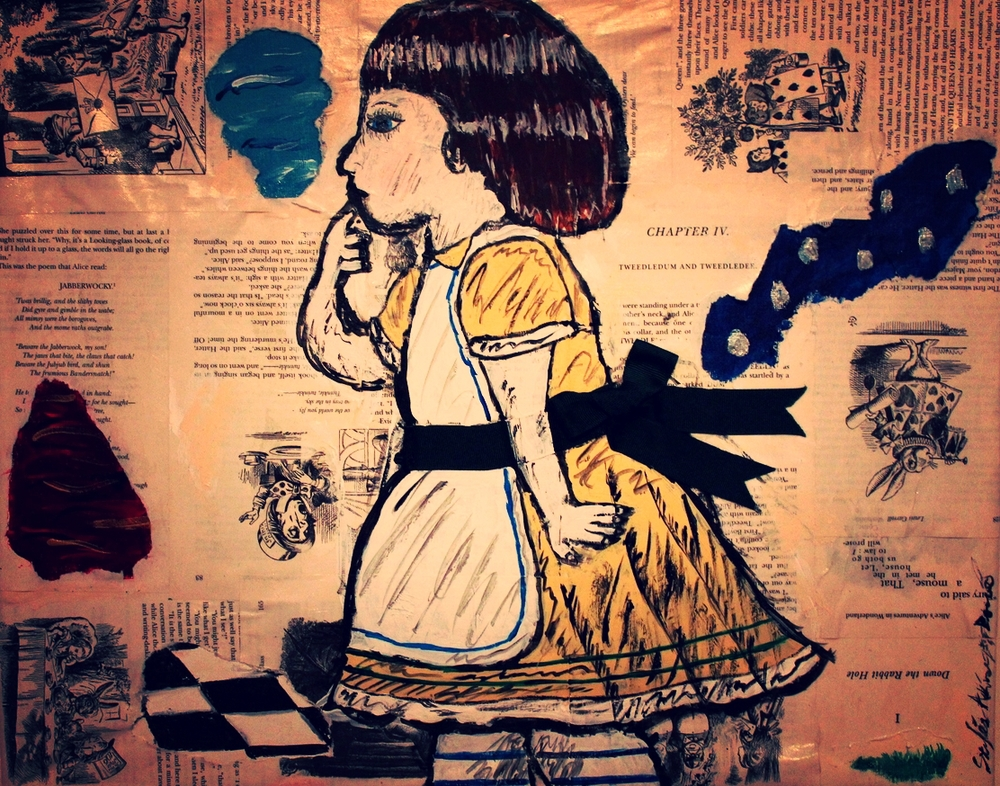 """The Little Girl"" - Alice by Stylés Akira                                                  (Acrylic, pages of 'Wonderland', and Ribbon on Canvas)"