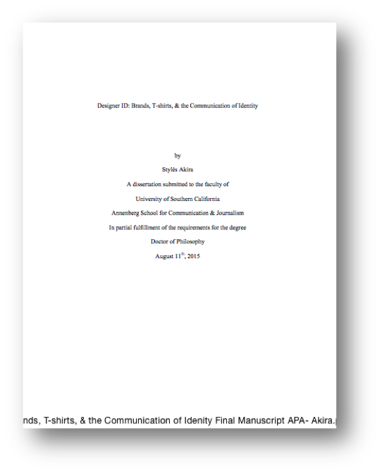 Open thesis and dissertation