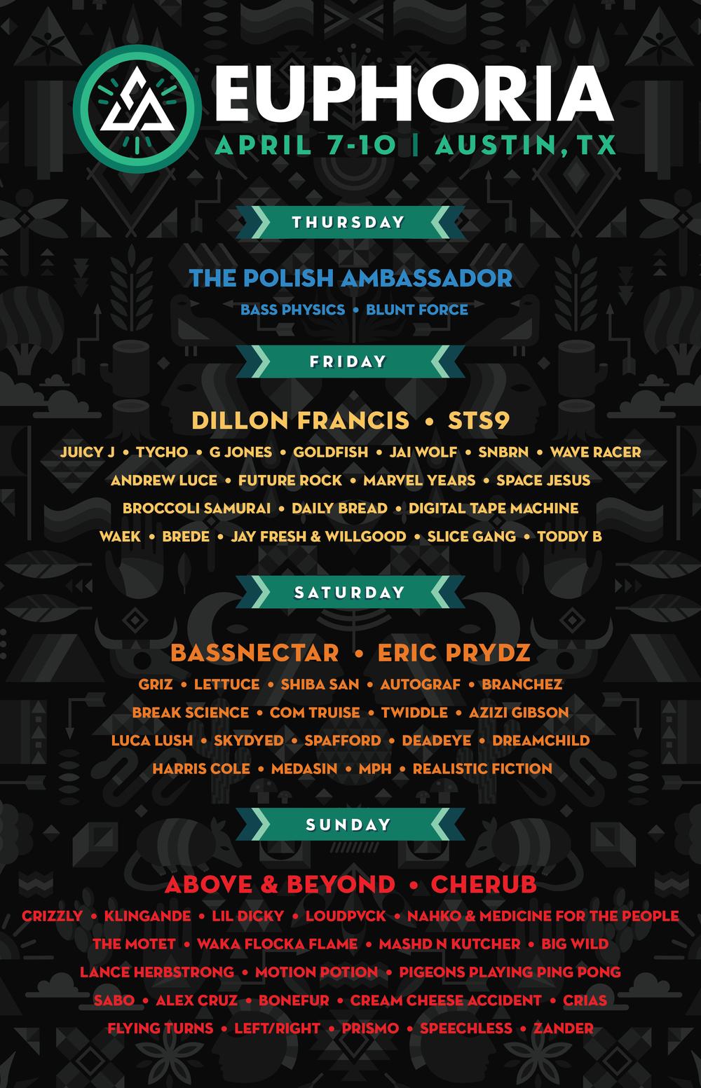 Euphoria 2016 Daily Lineup