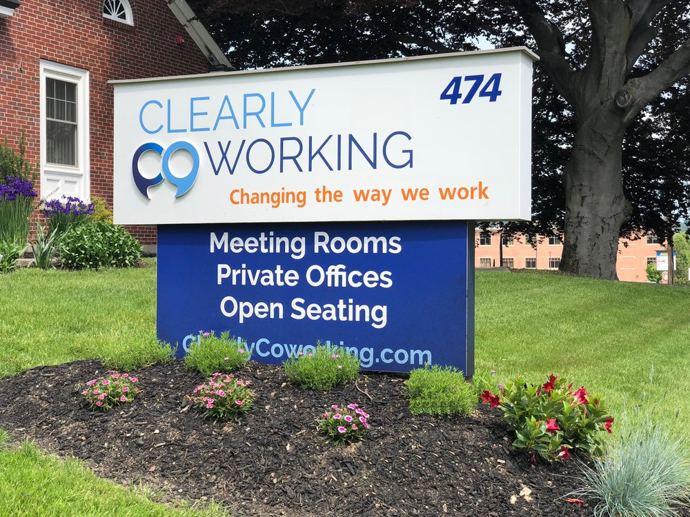 ClearlyCoworkingFrontSign