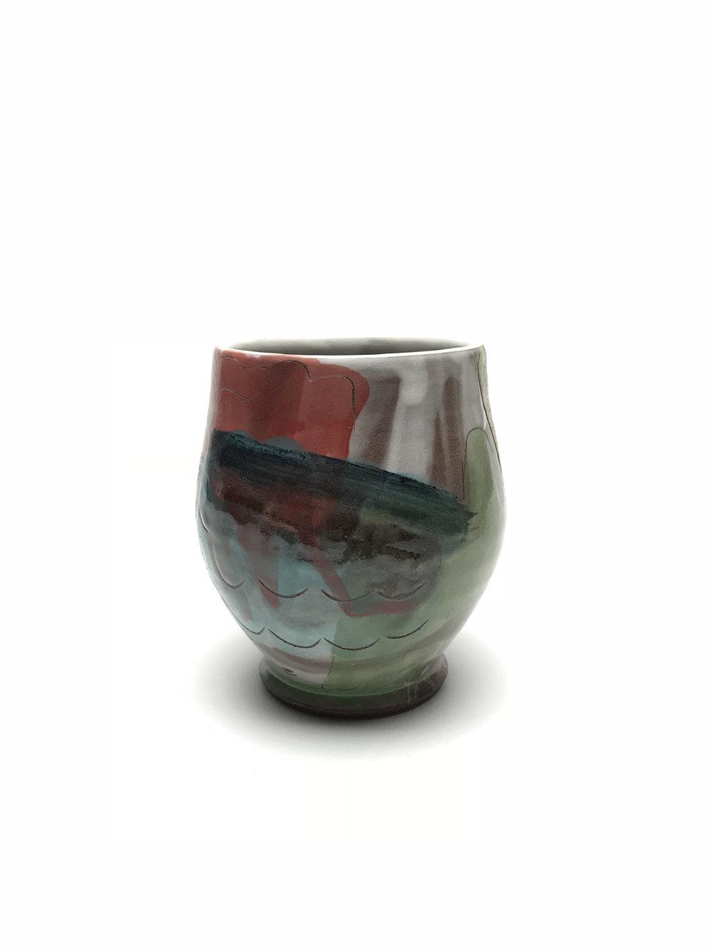 Teabowl  Earthen Red Clay, Slips, Underglaze, Glaze