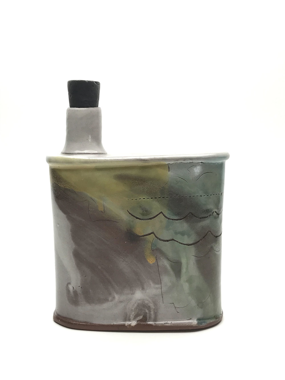 Flask  Earthen red clay, slips, underglaze, glaze