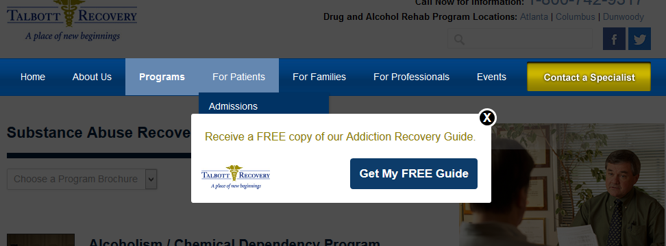 For Talbott Recovery, we wanted to drive downloads of their Addiction Recovery Guide. Notice how it only pops up when you're reading pages relevant to that particular guide.