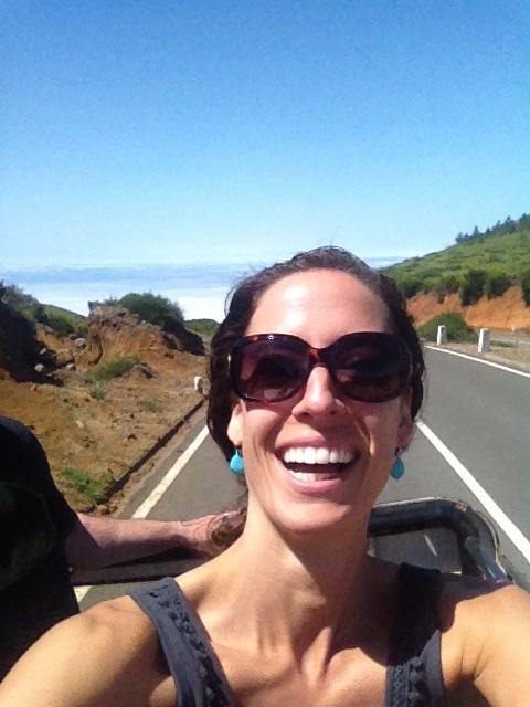 August 2014 - Standing selfie in a moving Jeep inMadeira Island, Portugal