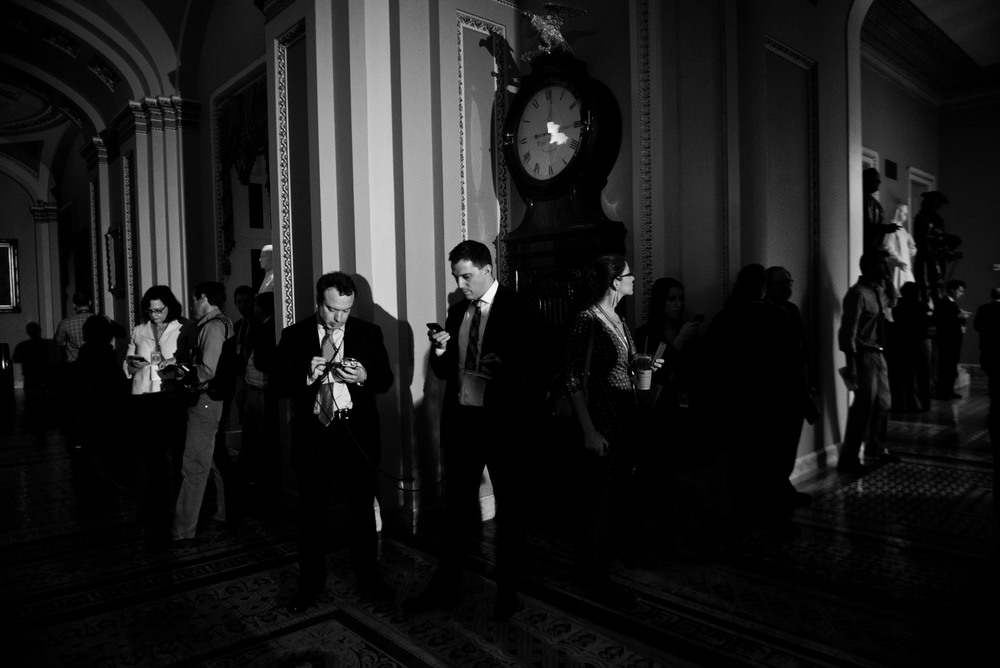 Reporters tirelessly work round the clock during the days of the shutdown to provide information to the public about the negotiations taking place between the parties.