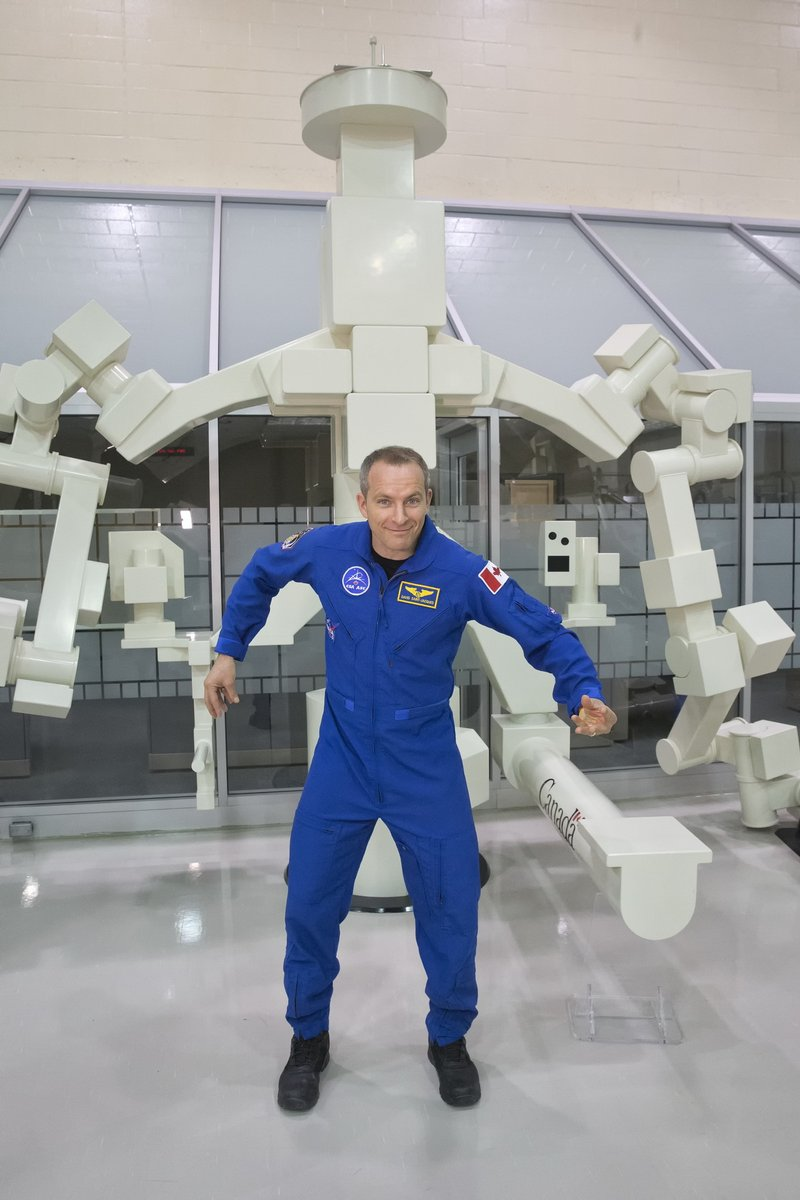 Canadian astronaut David Saint-Jacques hanging out with DEXTRE
