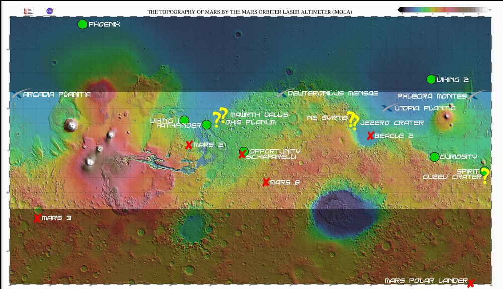 A nice map of prospective landing sites for several missions