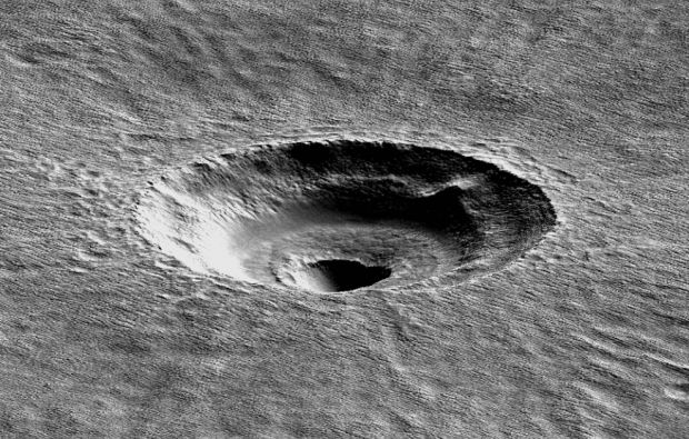 A terriced crater in Arcadia Planitia