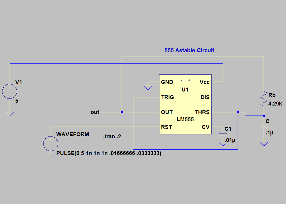 555 Astable circuit for 50% duty cycle and 1680Hz operating frequency