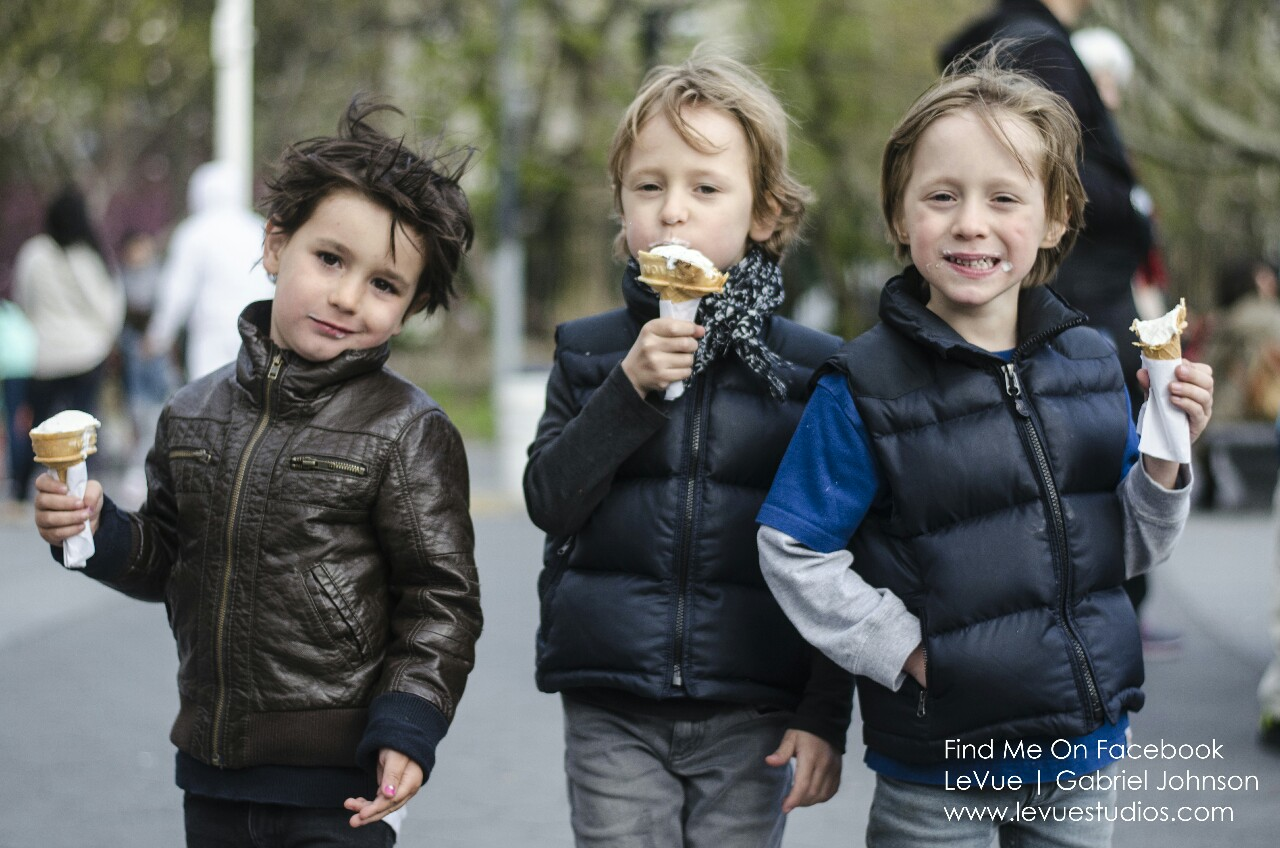 These cool kids enjoying their ice creams.  I was never this cool.