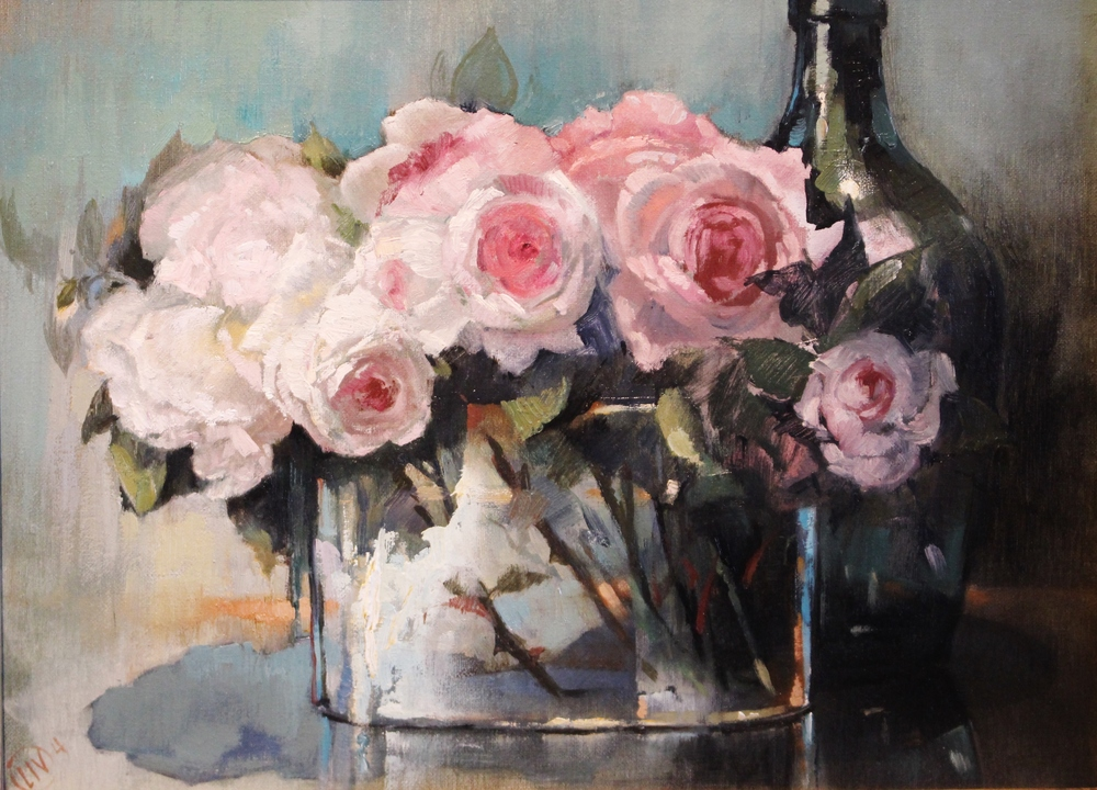 Wine and Roses  (Detail),  Oil on Panel