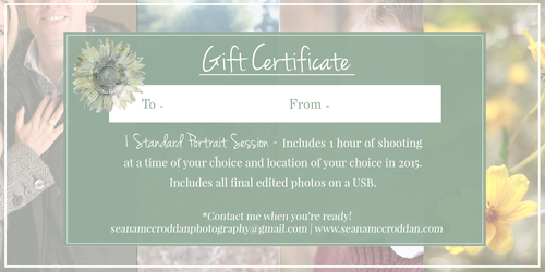 Portrait Session Gift Certificates  Seana Mccroddan Photography