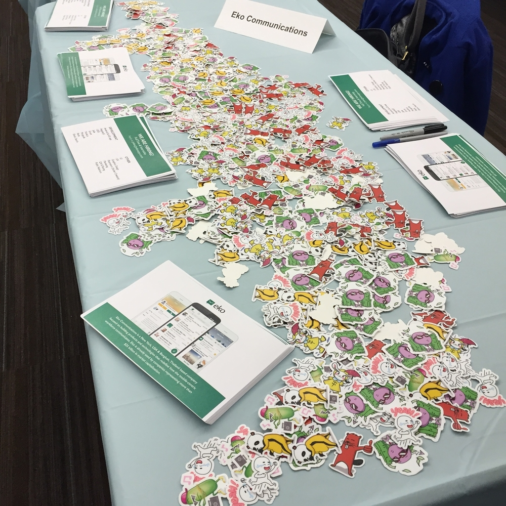 Representing Eko Communications at NYU Wasserman Spring 2015 Advertising, PR & Communications Industry Expo.  I was giving away stickers of stickers that our interns have created