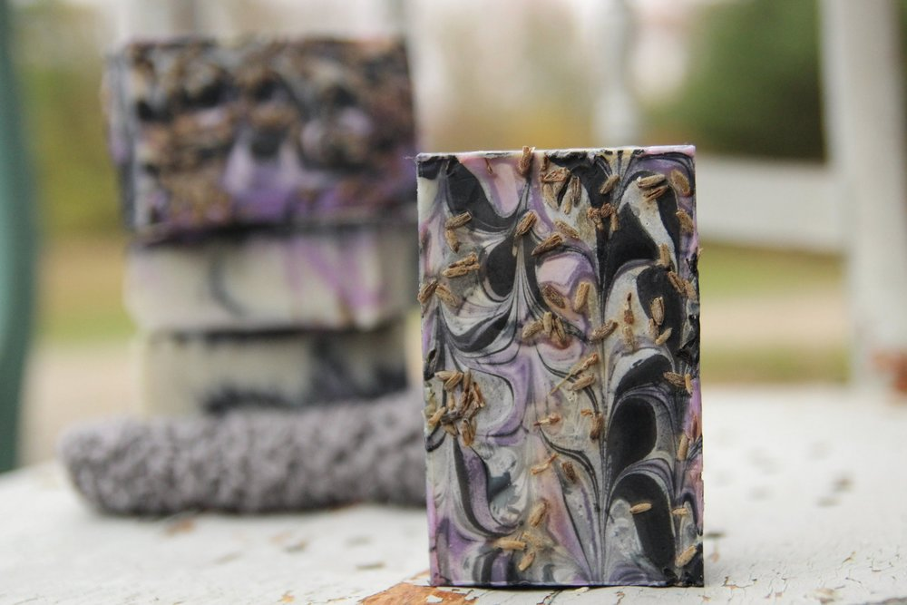 Charcoal Lavender goat milk soap