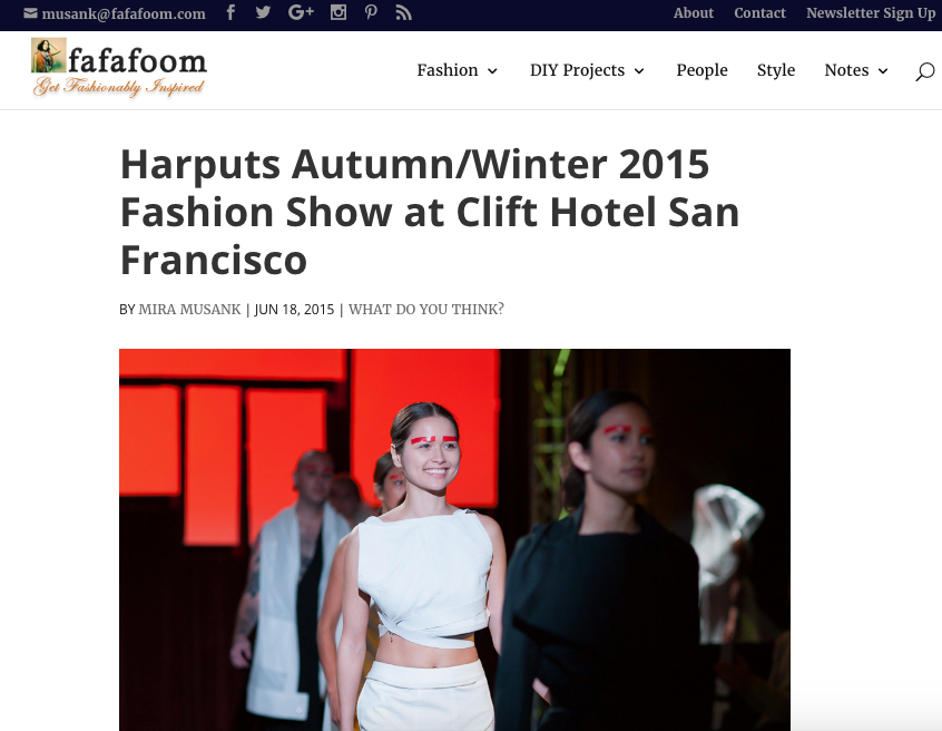 Harputs Autumn/Winter 2015 Fashion Show at Clift Hotel San Francisco | fafafoom | June 18, 2015