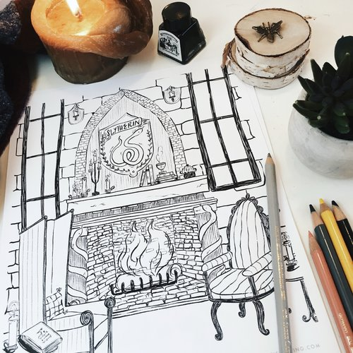 Slytherin Common Room Printable Coloring Page 85 X 11