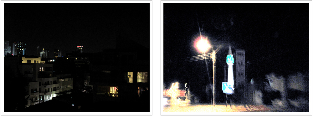 "(left) 21:00, May 24,  ""Retiring for the Night, Tel Aviv"", Israel. (right) 22:30, May 29, ""Entering Ramallah"", Area A, within The West Bank, The Occupied Territories."