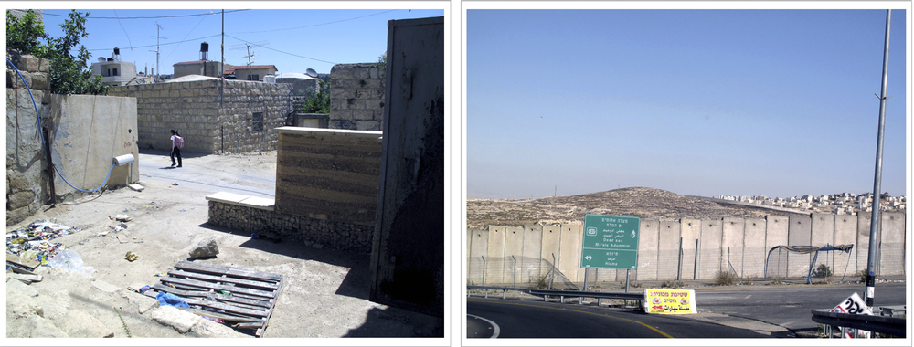 "(left) 15:30, June 3, ""School Girl"", Beit Iksa,  Palestinian Village, The Occupied Territories. (right) 14:15, June 4, ""The Separation Wall: Leaving Ramallah toward Jericho"" The Occupied Territories."