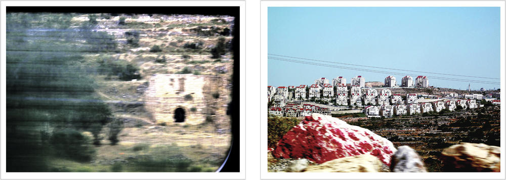 "(left) 16:15, May 29, 2013 ""Village Remnants: inside the Green Line, 31°49'N 34°59'E"". (right) 15:23, May 31, 2013 ""Red Rock along Highway 60, Erfat Israeli Settlement"", The West Bank, The Occupied Territories."