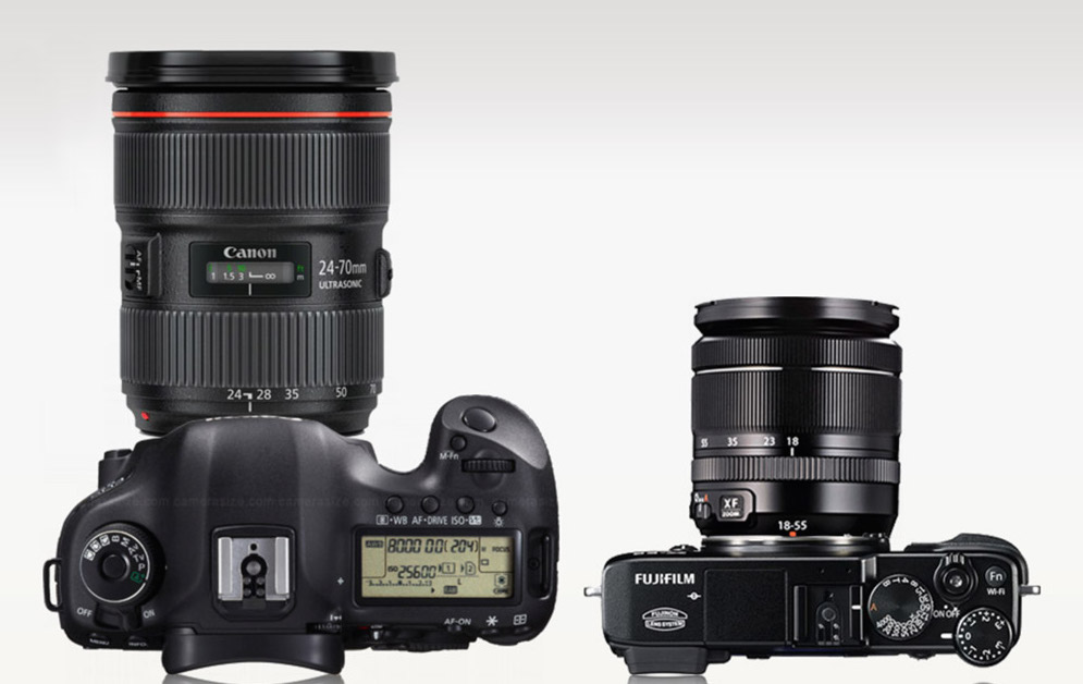 Size comparison of Canon's 5D Mark iii vs Fuji X-E2