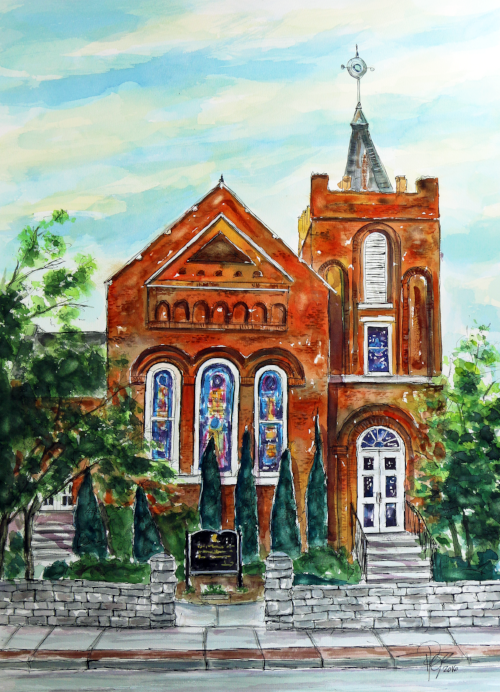 """Historic Franklin Presbyterian Church""    30 X 22 Watercolor   SOLD! Prints Available:  http://fineartamerica.com/featured/historic-franklin-presbyterian-church-tim-ross.html"