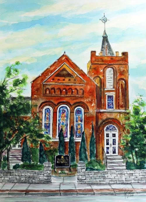 """Historic Franklin Presbyterian Church""  30 x 22 Watercolor    SOLD!    BUY PRINTS"