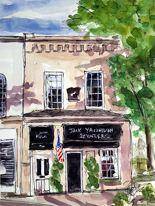"""On the Square""    12 X 9  Watercolor   Available Directly from Artist:  $129 Prints Available:  http://fineartamerica.com/featured/jack-yaukobian-jewelry-tim-ross.html"