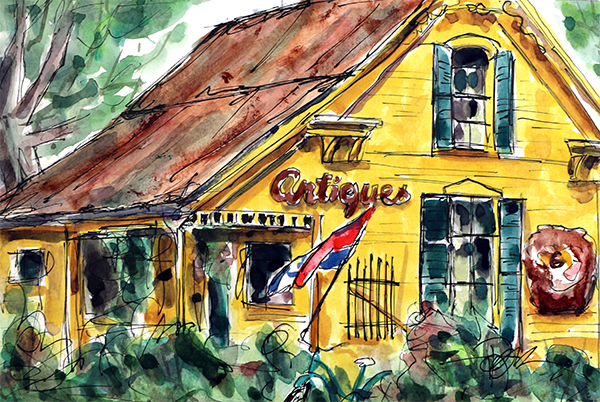 """Village Antiques""   10 X 13 Watercolor     $129 Prints Available:   http://fineartamerica.com/featured/village-antiques-tim-ross.html"
