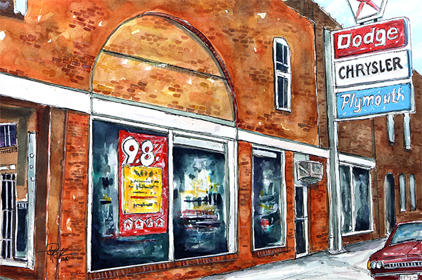 """Hardcastle's Castle""   15 X 22   Watercolor     SOLD! Prints Available:  http://fineartamerica.com/featured/hardcastle-motors-franklin-tim-ross.html"
