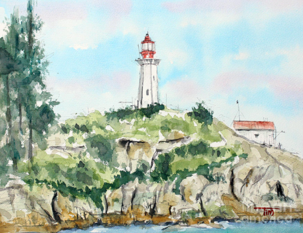 """""""Point Atkinson Lighthouse""""  9 X 12 Watercolor   SOLD! Prints Available: http://fineartamerica.com/featured/port-atkinson-lighthouse-tim-ross.html"""