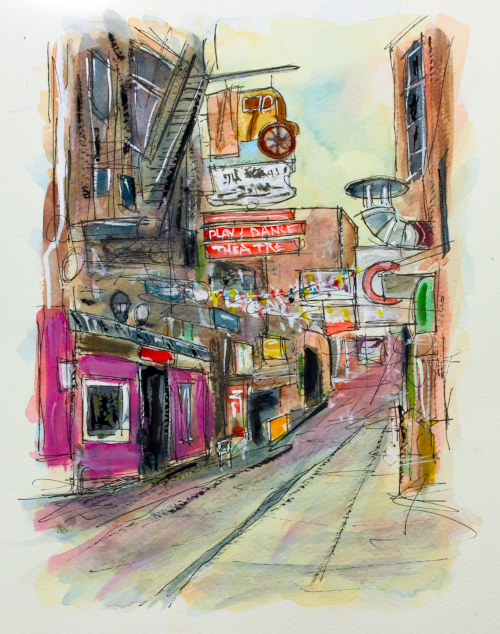 """Printers Alley""   12 X 9  Watercolor    SOLD! Prints Available:  http://fineartamerica.com/featured/printers-alley-nashville-tim-ross.html"