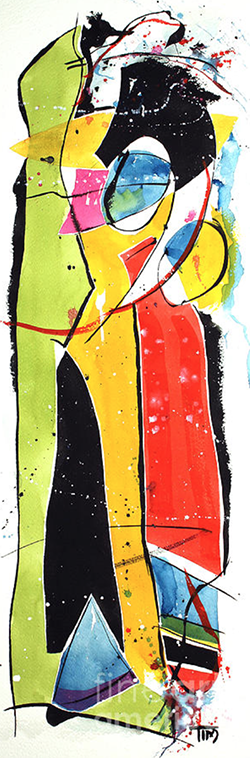 """Together Again""   30 X 15  Watercolor"