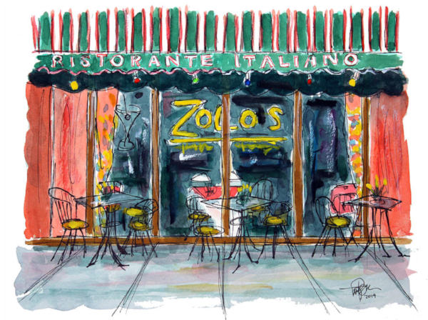 """Wining & Dining""  9 x 12 Watercolor  (Zolos Italian Restaurant / Franklin, TN)       SOLD!         BUY PRINTS"