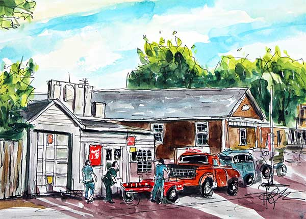 """J&R Small Engine Repair""   9 X 12  Watercolor     $99 Prints Available:    http://fineartamerica.com/featured/j-r-small-engine-repair-tim-ross.html"