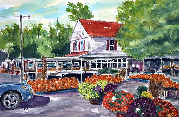 """It's Fall,  Y'all!""   An ""Original"" 15 X 22 Watercolor    SOLD! Prints Available:  http://fineartamerica.com/featured/its-fall-all-yall-tim-ross.html"