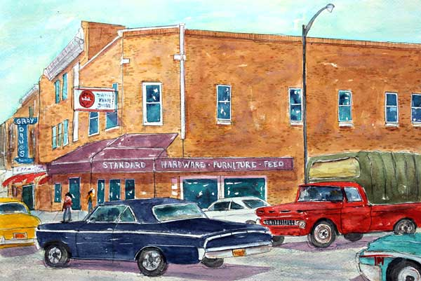 """The Main Drag""   18 X 24 Watercolor  SOLD! Prints Available:  http://fineartamerica.com/featured/cruisin-the-main-drag-tim-ross.html"