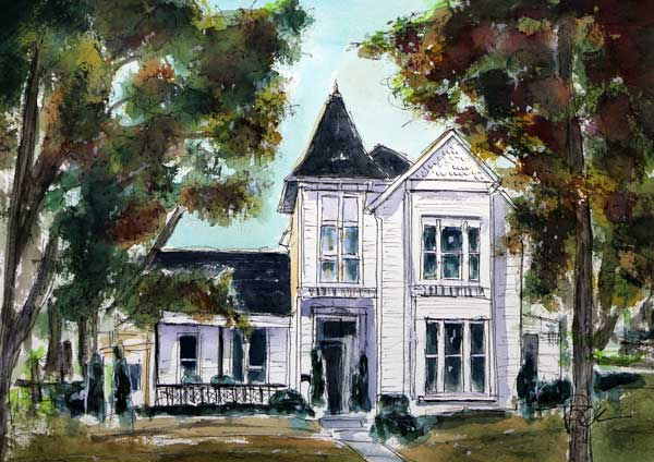 """Big White House""    11 X 15  Watercolor"