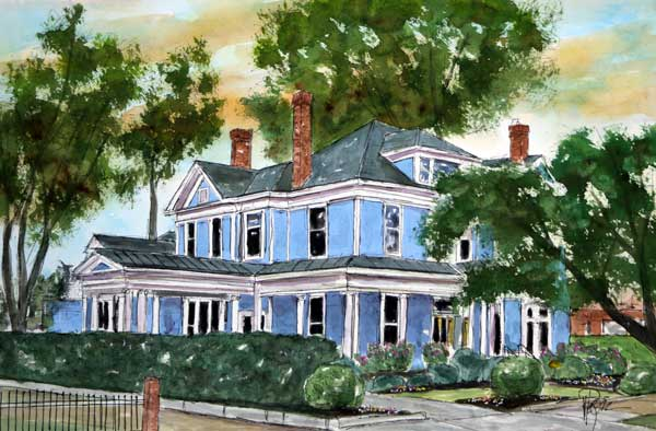 """Big Blue House""   15 X 22  Watercolor   $399"