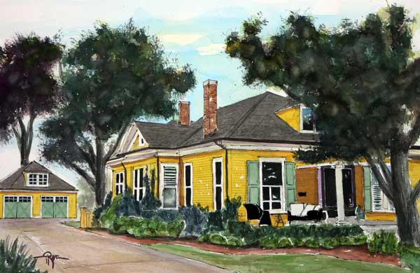 """Big Orange House""   Original Watercolor Painting  15 X 22   $SOLD"