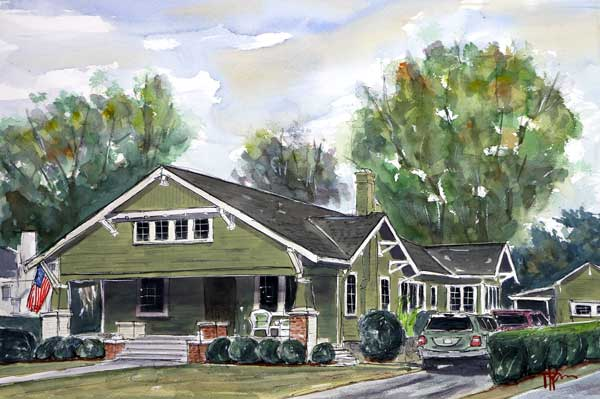 """Big Green Home""  15 X 22 Watercolor  * Available Directly from Artist"