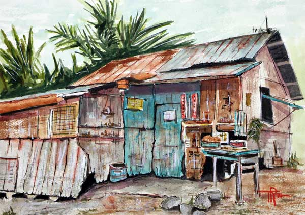 """Old Shack Out Back""    15 x 22 Watercolor     (Phillipine's Sugar Shack)    Available:  $299       BUY PRINTS"
