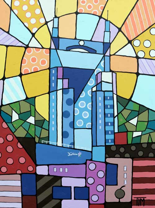 """Twang Town Sunrise ""  48 X 36 Acrylics on Gallery Wrap Canvas  * Available Directly from Artist."