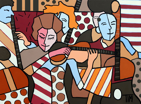 """Playing Things with Strings""   30 X 40 Acrylics on Gallery Wrap Canvas"