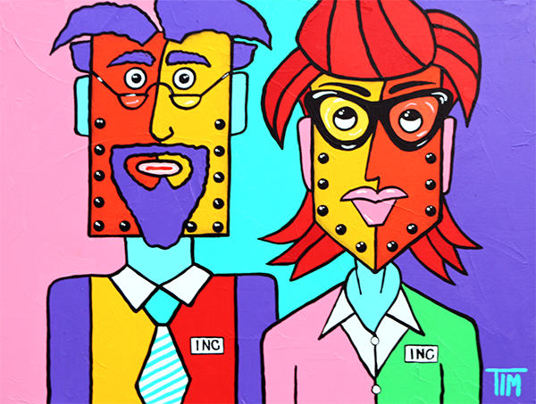 """A Corporate Kinda Couple""   30 X 40 Acrylics on Gallery Wrap Canvas"