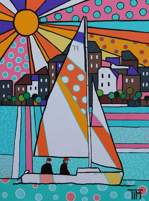"""Boat for Sail""  40 X 30 Acrylics on Gallery Wrap Canvas"